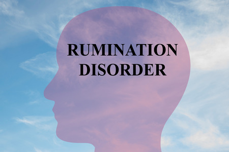 dwell: Render illustration of RUMINATION DISORDER title on head silhouette, with cloudy sky as a background.