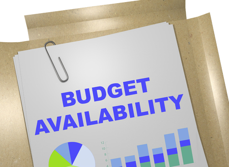 3D illustration of BUDGET AVAILABILITY title on business document Stock Photo