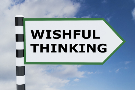 wishful: 3D illustration of WISHFUL THINKING script on road sign Stock Photo