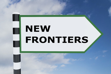frontiers: 3D illustration of NEW FRONTIERS script on road sign
