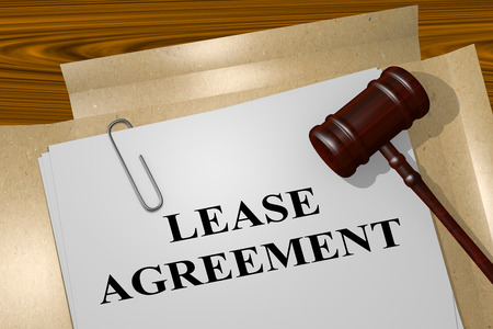 renting: 3D illustration of LEASE AGREEMENT title on legal document Stock Photo