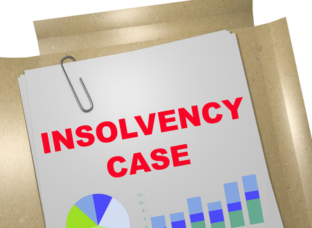 3D illustration of INSOLVENCY CASE title on business document