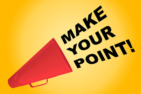 3D illustration of MAKE YOUR POINT! title flowing from a loudspeaker Stock Photo