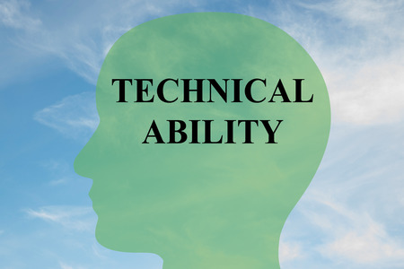 capability: Render illustration of TECHNICAL ABILITY script on head silhouette, with cloudy sky as a background.