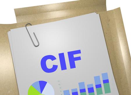 Illustration 3D du titre «CIF» sur le document commercial - Coût, assurance et fret Banque d'images - 70360949