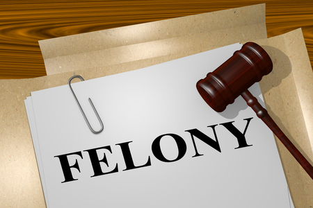 3D illustration of FELONY title on legal document Imagens
