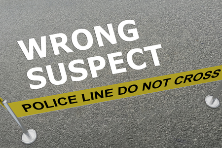 3D illustration of WRONG SUSPECT title on the ground in a police arena Stock Photo