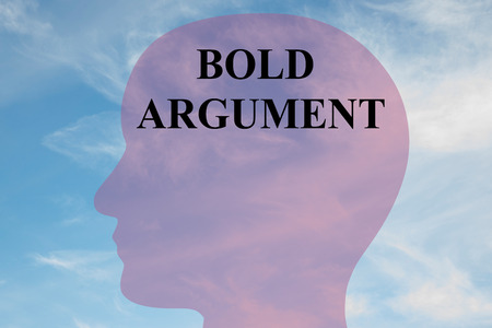 argument: Render illustration of BOLD ARGUMENT title on head silhouette, with cloudy sky as a background. Stock Photo