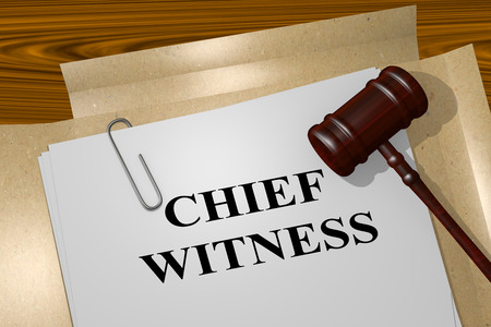 proceedings: 3D illustration of CHIEF WITNESS title on legal document