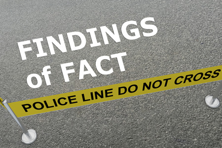 findings: 3D illustration of FINDINGS of FACT title on the ground in a police arena