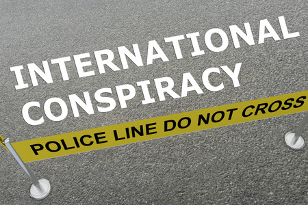 rioting: 3D illustration of INTERNATIONAL CONSPIRACY title on the ground in a police arena Stock Photo