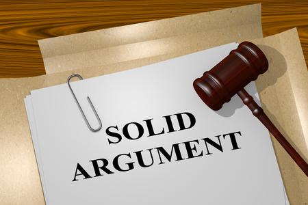 argument: 3D illustration of SOLID ARGUMENT title on legal document Stock Photo