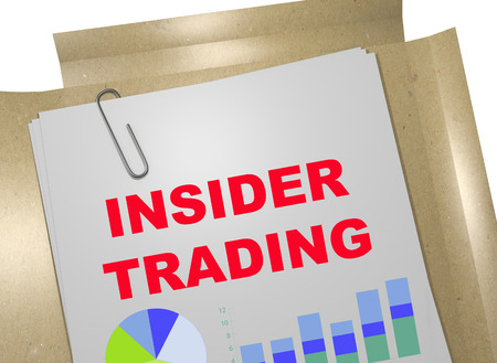 insider trading: 3D illustration of INSIDER TRADING title on business document Stock Photo