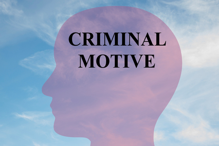 purchasing power: Render illustration of CRIMINAL MOTIVE title on head silhouette, with cloudy sky as a background.