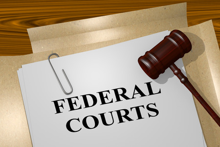 3D illustration of FEDERAL COURTS title on legal document