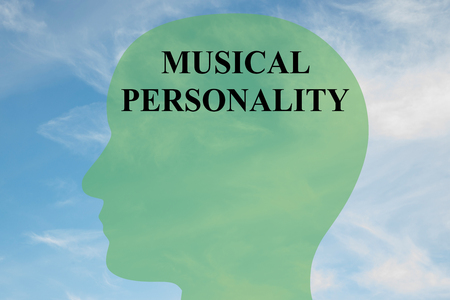 entertainer: Render illustration of MUSICAL PERSONALITY script on head silhouette, with cloudy sky as a background.
