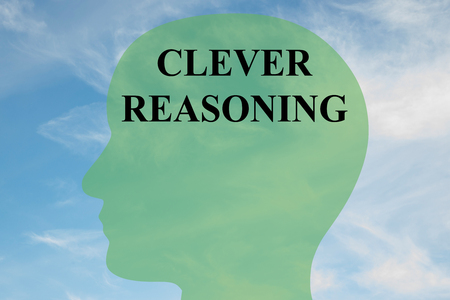 Render illustration of CLEVER REASONING script on head silhouette, with cloudy sky as a background.