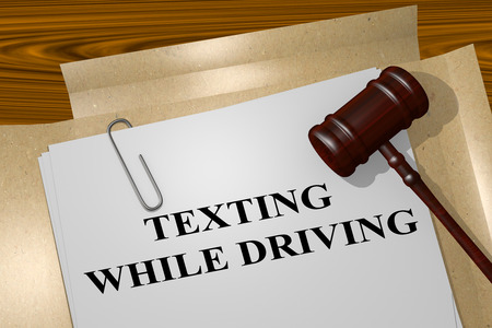 while: 3D illustration of TEXTING WHILE DRIVING title on legal document