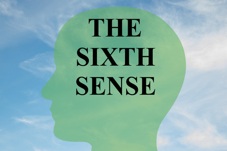 psychic: Render illustration of THE SIXTH SENSE script on head silhouette, with cloudy sky as a background.