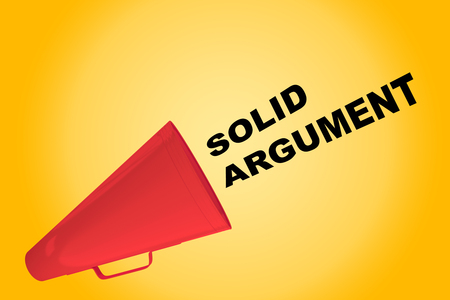argument: 3D illustration of SOLID ARGUMENT title flowing from a loudspeaker Stock Photo