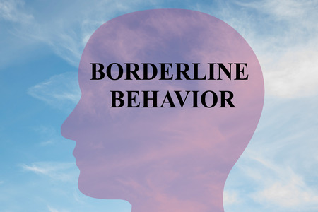 Render illustration of BORDERLINE BEHAVIOR title on head silhouette, with cloudy sky as a background.