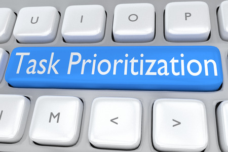 prioritization: 3D illustration of computer keyboard with the script Task Prioritization on a pale blue button