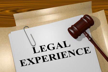 3D illustration of LEGAL EXPERIENCE title on legal document Stock Photo