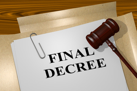 condemnation: 3D illustration of FINAL DECREE title on legal document Stock Photo