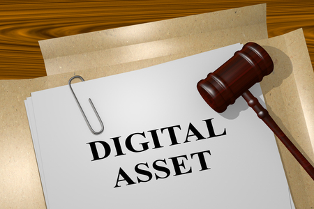 metadata: 3D illustration of DIGITAL ASSET title on legal document