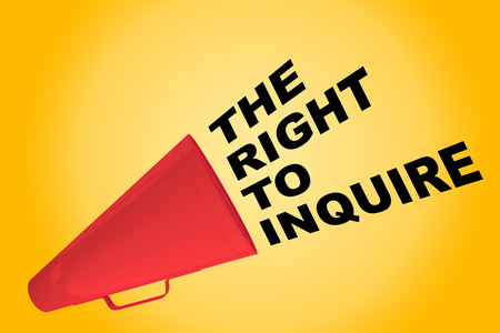 3D illustration of THE RIGHT TO INQUIRE title flowing from a loudspeaker Stock Photo