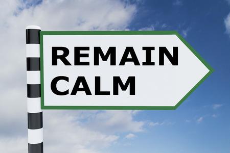 """3D-afbeelding van """"REMAIN CALM"""" -schrift op verkeersbord Stockfoto"""