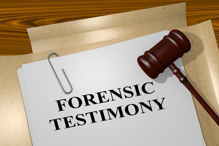 3D illustration of FORENSIC TESTIMONY title on legal document