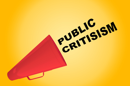 3D illustration of PUBLIC CRITISISM title flowing from a loudspeaker