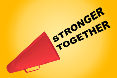 stronger: 3D illustration of STRONGER TOGETHER title flowing from a loudspeaker