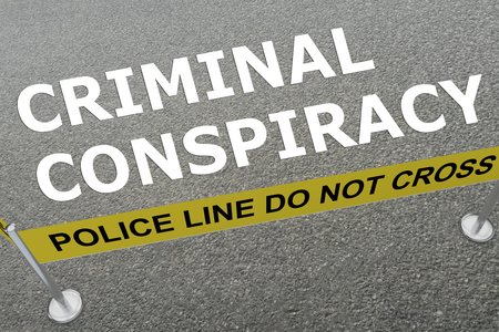 3D illustration of CRIMINAL CONSPIRACY title on the ground in a police arena Stock Photo