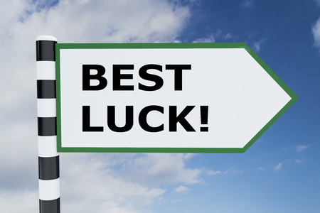 3D illustration of BEST LUCK! script on road sign Stock Photo