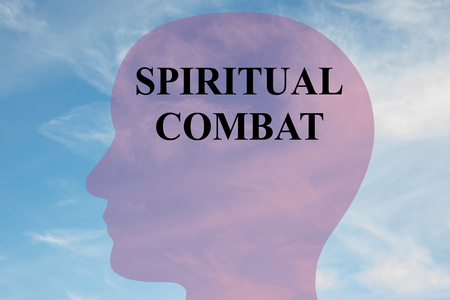 combat: Render illustration of SPIRITUAL COMBAT title on head silhouette, with cloudy sky as a background.