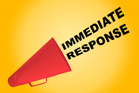 response: 3D illustration of IMMEDIATE RESPONSE title flowing from a loudspeaker Stock Photo