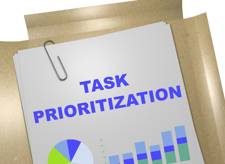 prioritization: 3D illustration of TASK PRIORITIZATION title on business document Stock Photo