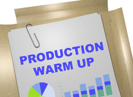3D illustration of PRODUCTION WARM UP title on business document