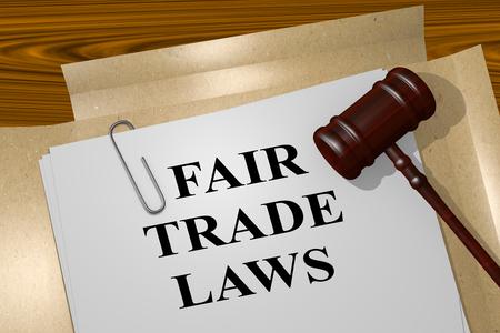 3D illustration of FAIR TRADE LAWS title on legal document Banco de Imagens