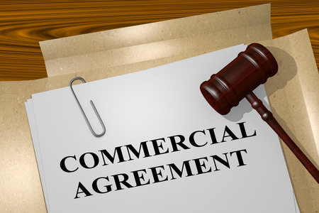 3D illustration of COMMERCIAL AGREEMENT title on legal document