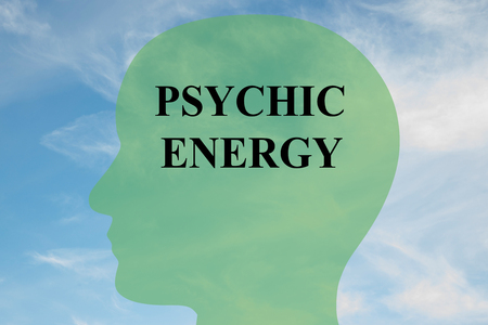 psychic: Render illustration of PSYCHIC ENERGY script on head silhouette, with cloudy sky as a background.