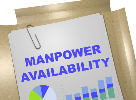 3D illustration of MANPOWER AVAILABILITY title on business document