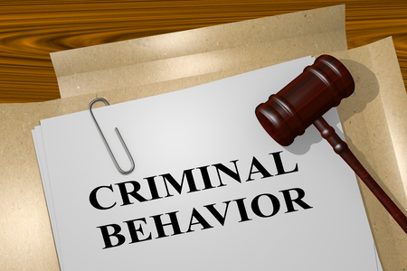 3D illustration of CRIMINAL BEHAVIOR title on legal document Stock Photo