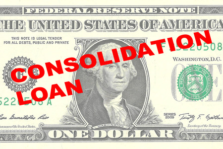 borrowing money: Render illustration of CONSOLIDATION LOAN title on One Dollar bill as a background