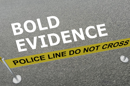 misconception: 3D illustration of BOLD EVIDENCE title on the ground in a police arena