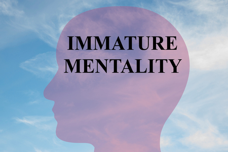 mentally: Render illustration of IMMATURE MENTALITY title on head silhouette, with cloudy sky as a background.