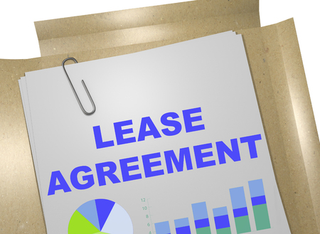 lessee: 3D illustration of LEASE AGREEMENT title on business document