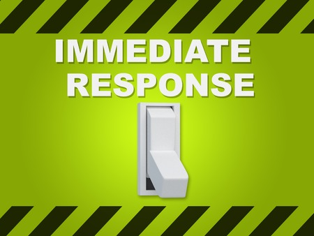 3D illustration of IMMEDIATE RESPONSE title above an electric switch on green wall Stock Photo